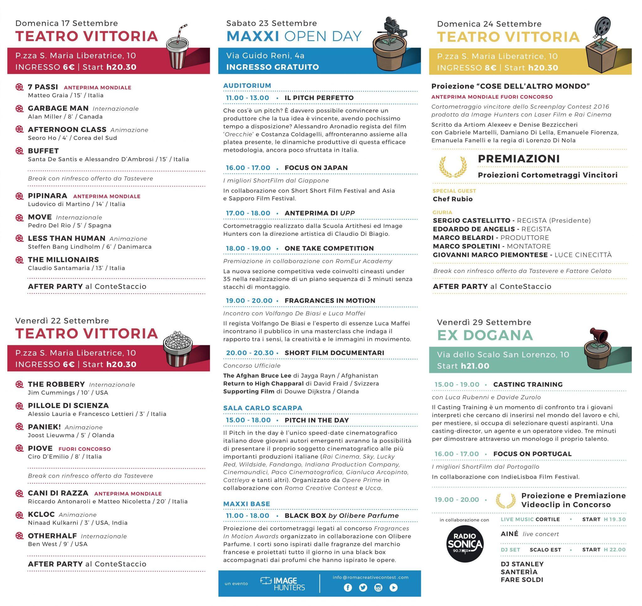 Roma creative contest Programma 2017